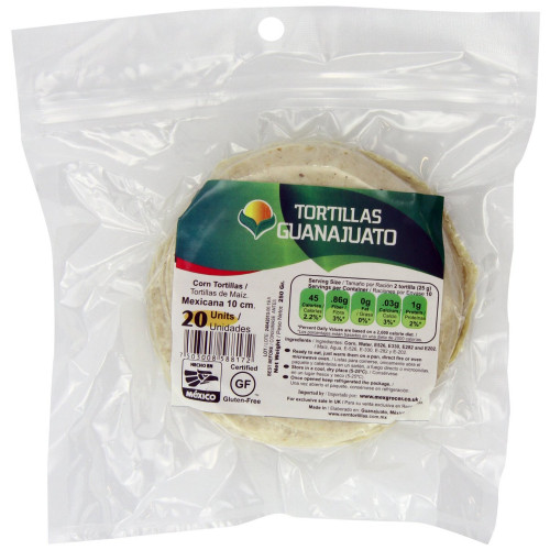 10cm White Corn Tortilla Mexicana Zip-Lock 40 x 20 Case