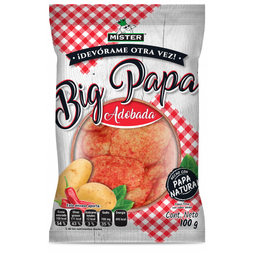 Mister Gourmet Potato Chips Big Adobadas Bag 32 x 100g